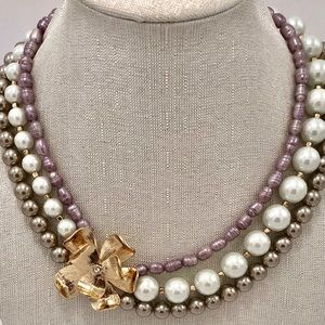 WHBM pearl 3 strand necklace with flower